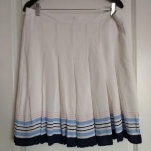 Old Navy White & Blue Pleated Mini Skirt